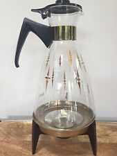 Pyrex Coffee Glass Carafe Pot Warmer With Lid Stand MCM Mid Century Vintage