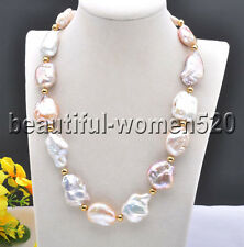 Z8286 38mm Pink White BAROQUE KESHI REBORN PEARL Bead NECKLACE 20inch