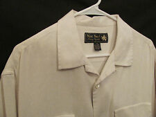Mens Nat Nast Luxury 100% Silk S/S Ivory Hawaiian Camp Shirt Size M 26152