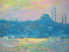"American Impressionist Nino Pippa Orientalist Painting of Istanbul COA 16""x20"""