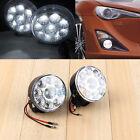 2Pc White 9-LED Round Daytime Driving Running Light DRL Fog Lamp For Car Vehicle