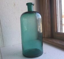 """BEAUTIFUL TEAL GREEN HUGE 11 1/2""""APOTHECARY DRUGSTORE MEDICINE BOTTLE 1880 NICE!"""