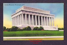 LMH Linen Postcard '50 LINCOLN MEMORIAL White Marble Temple WASHINGTON Sculpture