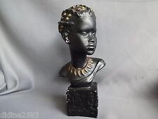 STATUE TETE FEMME AFRIQUE PLATRE NOIR BUSTE AFRICAINE AFRICAN HEAD PLASTER BLACK