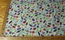 """BE WITCHED EEK BOO GHOST BAT ON WHITE COTTON HALLOWEEN FABRIC BY 1/2 YD 44"""" W"""