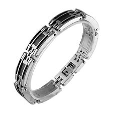 Stainless Steel Bracelet with Cable and Carbon Fiber (8.5 inches)