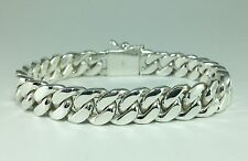 "7"" 50g MENS WOMENS BIKER CUBAN CURB CHAIN LINK 925 STERLING SILVER BRACELET"