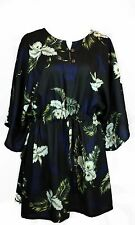 Poncho Dress Top Luau Tropical Cruise Hawaiian Tie Beach Plus Size Pineapple BLK