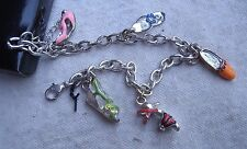 Ladies' Shoes Charm Bracelet,silver metal,enameled colors,CZ sets,chain style