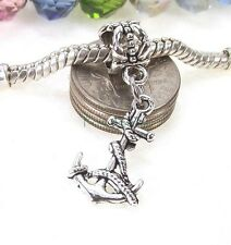 Silver Plated Anchor Dangle Bead Large Hole Slider for European Charm Bracelet