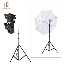 Flash Shoe Umbrella Holder Swivel Light Stand Bracket B + 195cm light stand