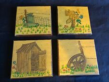 Primitive Folk Art Set of 4 Wall Decor Drawings Milk Cans Outhouse Fence Wheel