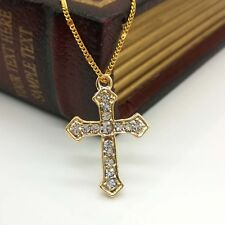 New Women Crystal Rhinestone Gold Cross Pendant Chain Necklace Jewelry Gifts