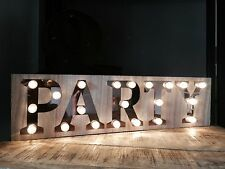 Party Wooden Light Up Sign Carnival Display Plaque Vintage Wedding Decoration