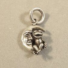 .925 Sterling Silver FROG SITTING ON MOON CHARM NEW Man Face Pendant 925 MY32