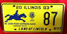 2003 Illinois Specialty License Plate Mt Zion Pony Express Days #87 Land Lincoln