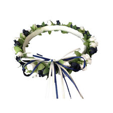 Navy blue & white Silk Poly Rose Halo Flower Girl Head Piece Band Green Leaves