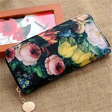 Women Lady Oil Painting Floral Zip Purse Wallet Handbag Clutch Bag Card Holder