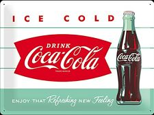 Coca Cola Ice Cold Bottle large embossed metal sign  400mm x 300mm (na)