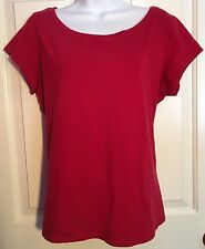 EILEEN FISHER Red Stretch Organic Cotton S/S Scoop Neck Tee Top Shirt XL