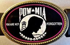 "POW - MIA ""You Are Never Forgotten""   Epoxy  Buckle & Black bonded leather Belt"