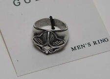 GUESS SILVER & BLACK METAL DESIGNER FASHION RING NWT ON CARD Sz 10