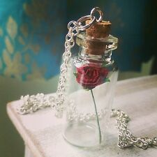Beauty And The Beast Enchanted Rose Necklace Disney Tale as Old as Time Bottle