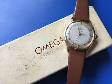 Vintage 14 Karat OMEGA BUMPER AUTOMATIC 1940s Cal 28.10RA SC PC Boxed Swiss Made