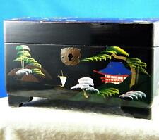 VINTAGE BLACK LACQUER JAPANESE MUSICAL JEWELRY BOX HAND PAINTED SCENES