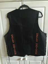 Black Leather Harley Davidson Vest Bikers Dream Apparel Made In USA, size 48 XL