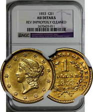 1853 GOLD LIBERTY $1 COIN NGC AU DETAILS