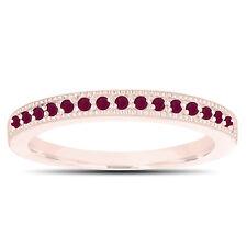 Red Ruby Wedding Band 14K Rose Gold Half Eternity Anniversary Ring Handmade