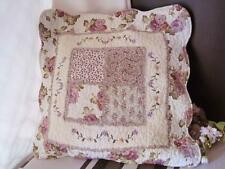 Purple Rose Flower Trail Embroidery Frill Patch Cotton Quilted Cushion Cover