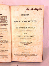 Antique Book A Summary of the Law of Set-Off 1825 2nd US Edition Basil Montagu