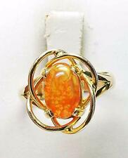 Amazing!! 14k Yellow Gold & 1.15 carat Multi color Mexican Fire Opal Ring