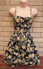 PRIMARK BLACK YELLOW GREEN ROSES FLORAL STRAPPY SKATER FLIPPY TEA DRESS 10 S