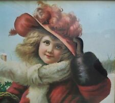Vintage Christmas Gifts Print Little Girl in Victorian Fashion Winter Children