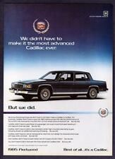 "1985 Cadillac Fleetwood Sedan photo ""The Most Advanced Cadillac Ever"" print ad"