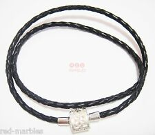 Brand New Source Black Braided Leather Bracelet/Necklace. 925 Silver Sterling.