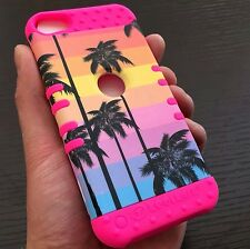 For iPod Touch 5th / 6th Gen - HYBRID IMPACT ARMOR CASE PINK PALM TREES SUNSET