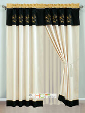 4-Pc Allura Floral Embroidery Striped Curtain Set Gold Ivory Black Valance Sheer