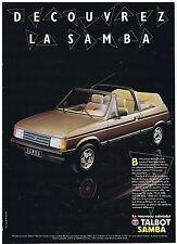 PUBLICITE ADVERTISING 044 1982 TALBOT Samba cabriolet