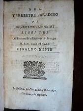 Rarità - Benedetto Menzini : Paradiso Terrestre + Sonetti - 1691 Rinaldo D'este
