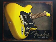 Fender Make History Yellow Guitar TIN SIGN vtg Retro Wall Decor Music