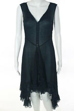 Charles And Victoria Navy Blue Silk Sheer Ruffled Dress Size Small