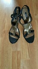 WOMENS ASOS SHOES WEDGE BLACK LEATHER AND OLD GOLD SEQUINS UK6 EU39 SUPER!