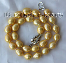 stunning big 15mm baroque gold freshwater cultured pearl necklace m579