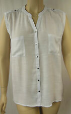 Rockmans White Sleeveless Hi-Lo Button Front Shirt Tunic Top Size 20 BNWT # F57
