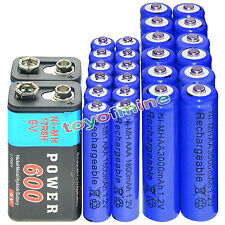 12xAA 3000mAh+12x AAA 1800mAh 1.2V NI-MH batteria ricaricabile+2x BTY 9V 600mAh