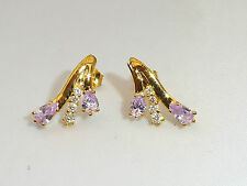 Ladies 18 Ct Yellow Gold Sterling 925 Silver Amethyst & White Sapphire Earrings